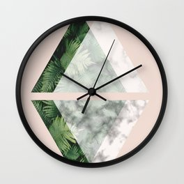Geometric Triangles | Tropical and Marble Wall Clock