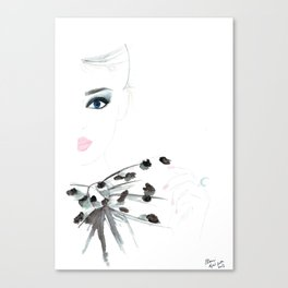 Watercolour Fashion Illustration Titled Bow Top Canvas Print