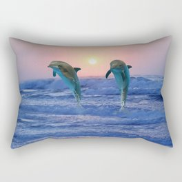 Dolphins at sunrise Rectangular Pillow
