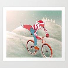 rushing home for christmas Art Print