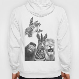 Black and White Jungle Animal Friends Hoody