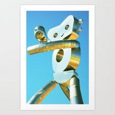 Robot and a Tweet Art Print