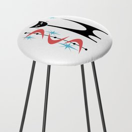 Mid Century Modern Atomic Retro Abstract Cat in Pink and Turquoise Blue Counter Stool