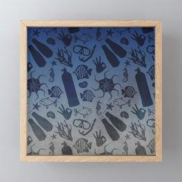 Scuba Dive Underwater Pattern Framed Mini Art Print