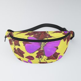 BROWN HANGING IVY LILAC BUTTERFLIES ON YELLOW ART Fanny Pack