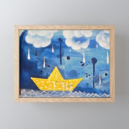 Sailing in the storm Framed Mini Art Print
