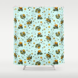 Oranges and Butterflies on Mint Shower Curtain