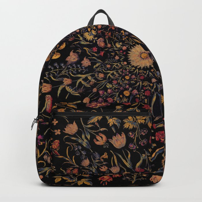 Medieval Flowers on Black Rucksack