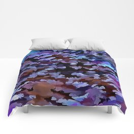 Foliage Abstract In Blue and Lilac Tones Comforters