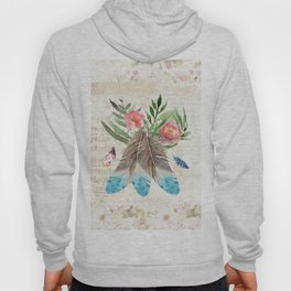 Feathers with Pink Flowers and Green Leaves Watercolor Design Hoody