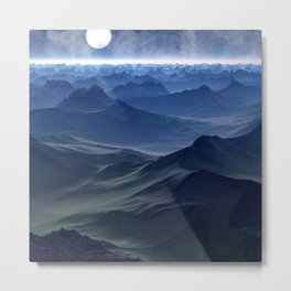 High mountains in the night light Metal Print
