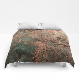 Marble Emerald Copper Blue Green Comforters