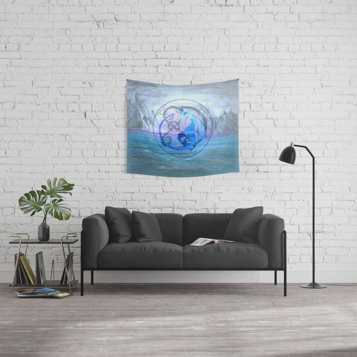 Blue Viking Dragon Wall Tapestry