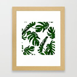 Simply Tropical Palm Leaves in Jungle Green Framed Art Print