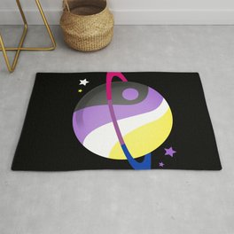 Non-Binary Bisexual Planet Non-Binary Bisexual Gift Rug