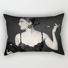 """A Noir Night Out"" - The Playful Pinup - Modern Gothic Twist on Pinup by Maxwell H. Johnson Rectangular Pillow"