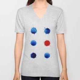 Watercolor splashes. Colorful watercolor blots. Unisex V-Neck