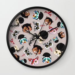 Pop Cats - Pattern French Gray Grey Wall Clock