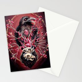 Black Raven Bird with Mice Skulls and Fruit Stationery Cards
