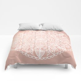 White Mandala on Rose Gold Comforters