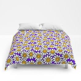 Purple Smiley Daisy Flower Pattern Comforters