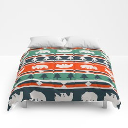 Winter bears and trees Comforters