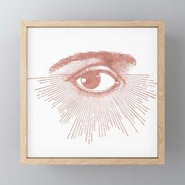 I see you. Rose Gold Pink Quartz on White Framed Mini Art Print