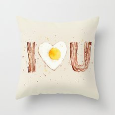 Bacon and Egg I love You Breakfast Food I heart Throw Pillow