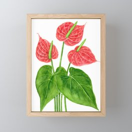 Flamingo flower watercolor Framed Mini Art Print