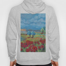 Peaceful rural landscape with lake, house and poppy field Hoody