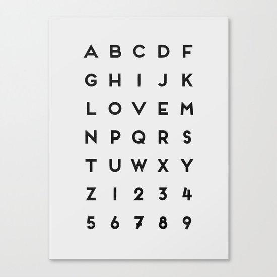 Letter Love - White Canvas Print