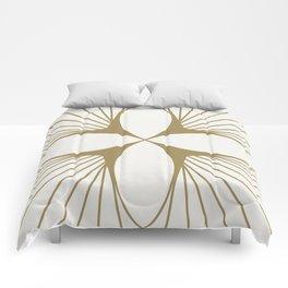 Diamond Series Floral Diamond Gold on White Comforters