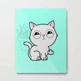 Kitty Knows Sign Language Metal Print