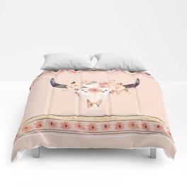 Bull Head Skull Boho Flowers Comforters