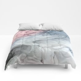 Pastel Blush, Grey and Blue Ink Clouds Painting Comforters