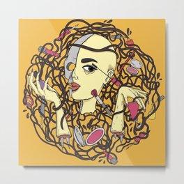 Make Up By Robot Woman Metal Print