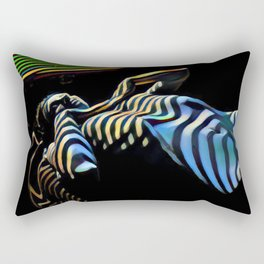2238s-AK_5488 Nude Woman Striped by Window Blinds Rendered Composition Style Rectangular Pillow