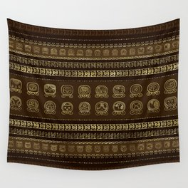 Maya Calendar Glyphs Gold on brown Wall Tapestry