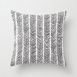 Black and white brush painted chevron Throw Pillow
