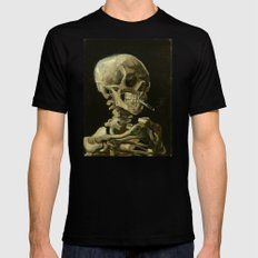 Vincent van Gogh - Skull of a Skeleton with Burning Cigarette Mens Fitted Tee Black 2X-LARGE