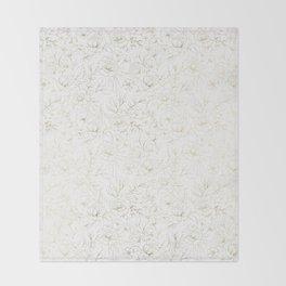 Elegant simple modern faux gold white floral Throw Blanket