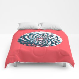 pine cone pattern in coral, aqua and indigo Comforters