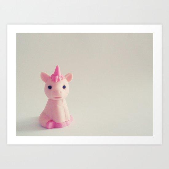 Pink Unicorn Sees You Art Print