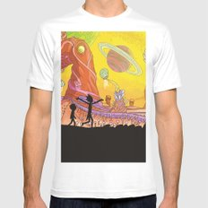 Rick and Morty - Silhouette MEDIUM White Mens Fitted Tee