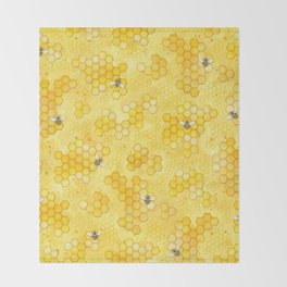 Meant to Bee - Honey Bees Pattern Throw Blanket