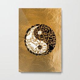 Yin-Yang Cats - Gold Metal Print