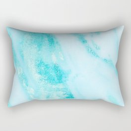 Shimmery Teal Ocean Blue Turquoise Marble Metallic Rectangular Pillow