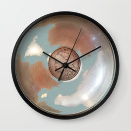 Silver Dollar, Silver Disk Art Wall Clock