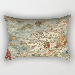 Medieval Map Scandinavia 1539 Rectangular Pillow