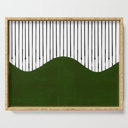 lines and wave (green) Serving Tray